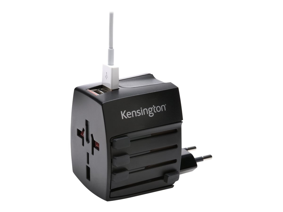 Kensington Travel Plug Adapter w  Dual 2.4A USB Charging Ports, K33998WW