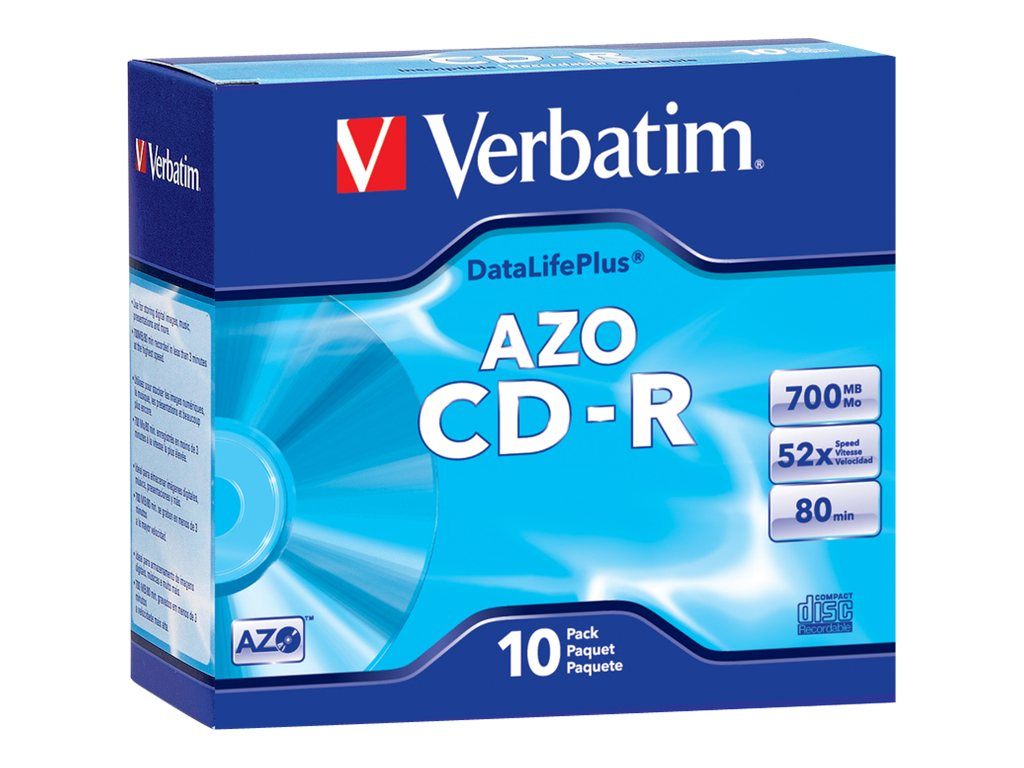 Verbatim 52x DataLifePlus 80 Min 700MB CD-R Media (10-pack w  Slim Cases), 94760, 4899711, CD Media