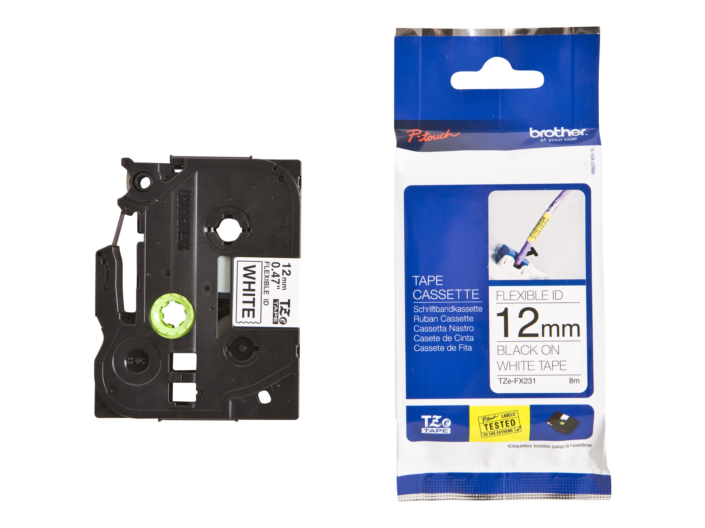 Brother 0.47 x 26.2' TZeFX231 Black on White Flexible ID Tape, TZE-FX231, 13007535, Paper, Labels & Other Print Media