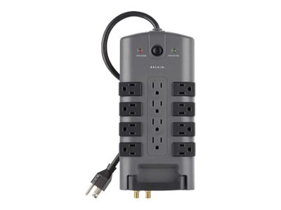 Belkin Pivot-Plug Surge Protector 4230 Joule (12) Receptacle 8ft Power Cord, Tel Coax Protection, BP112230-08