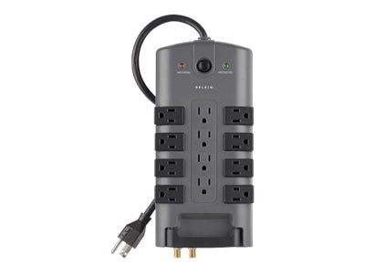 Belkin Pivot-Plug Surge Protector 4230 Joule (12) Receptacle 8ft Power Cord, Tel Coax Protection