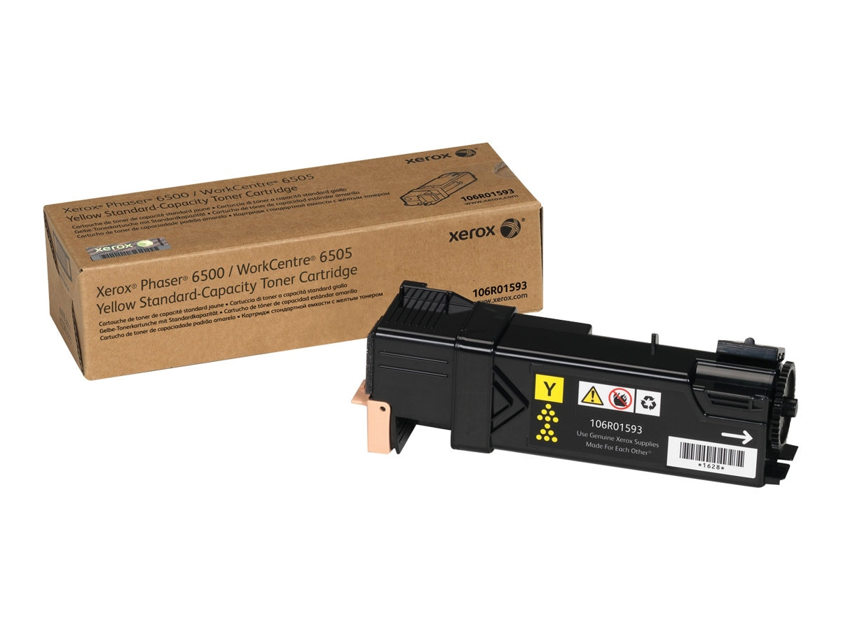 Xerox Yellow Standard Capacity Toner Cartridge for Phaser 6500 & WorkCentre 6505, 106R01593, 12487717, Toner and Imaging Components