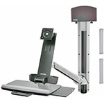 Ergotron StyleView Sit-Stand Combo System with Small CPU Holder (polished aluminum)