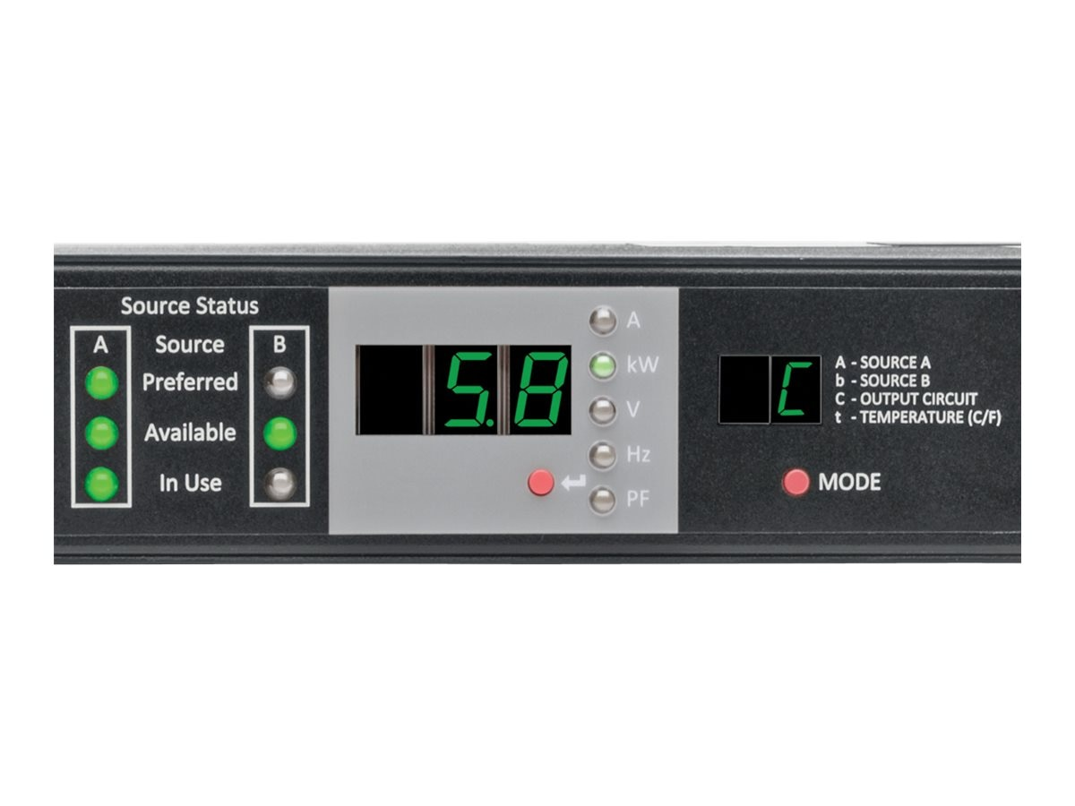 Tripp Lite ATS Monitored PDU 5.8kW 208 240V Single-Phase, 1U Rack-Mount, (2) L6-30P Input, L6-30R Outlet, PDUMNH30HVAT