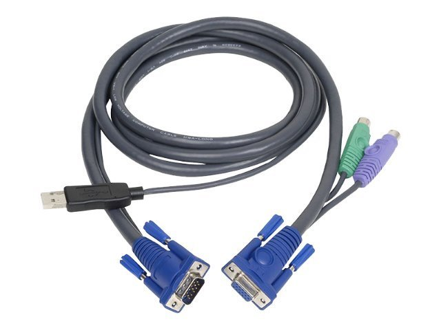 IOGEAR PS 2 to USB Intelligent KVM Cable, 6ft, G2L5502UP, 4897855, Cables