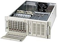 Supermicro Barebone SuperServer 7043L-8RB  4U Tower, Xeon DP, 533MHz, FDD, GBE2, 7x SCA U320, 600W RPS, Black, SYS-7043L-8RB, 5307520, Barebones Systems