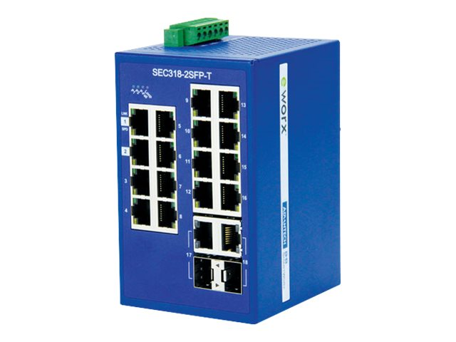 Quatech 16-Port FE Switch w 2x2Gb SFP Combo, SEC318-2SFP-T