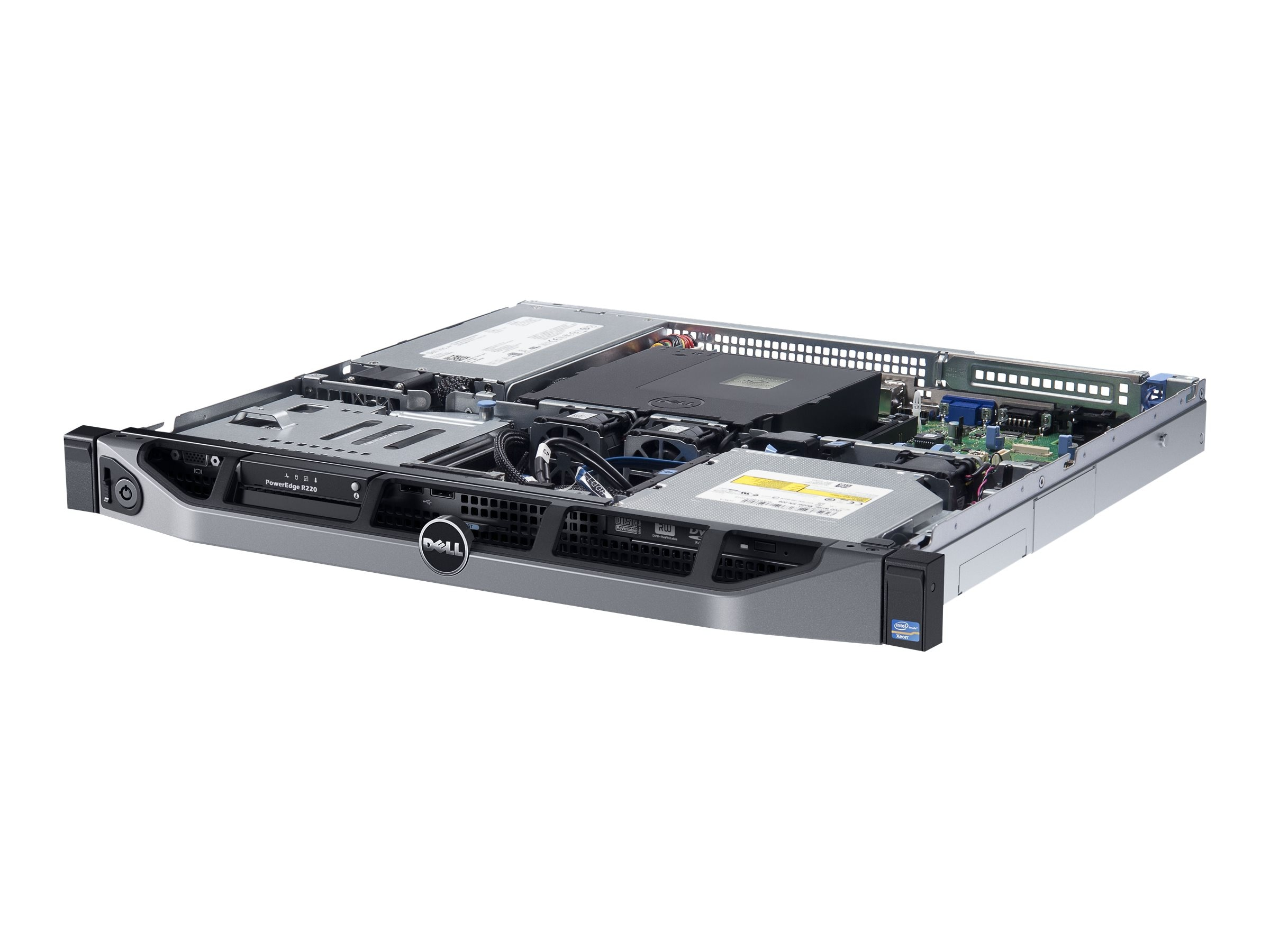 Dell PowerEdge R220 1U RM Xeon QC E3-1220 v3 3.1GHz 8GB 1x1TB SATA 2x3.5 DC Bays DVD 2xGbE 250W, 463-6116, 21404565, Servers