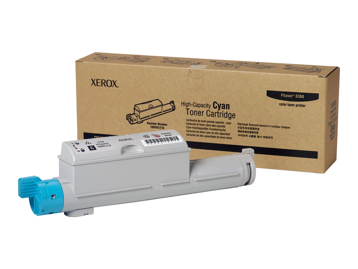 Xerox Cyan High Capacity Toner Cartridge for Phaser 6360, 106R01218