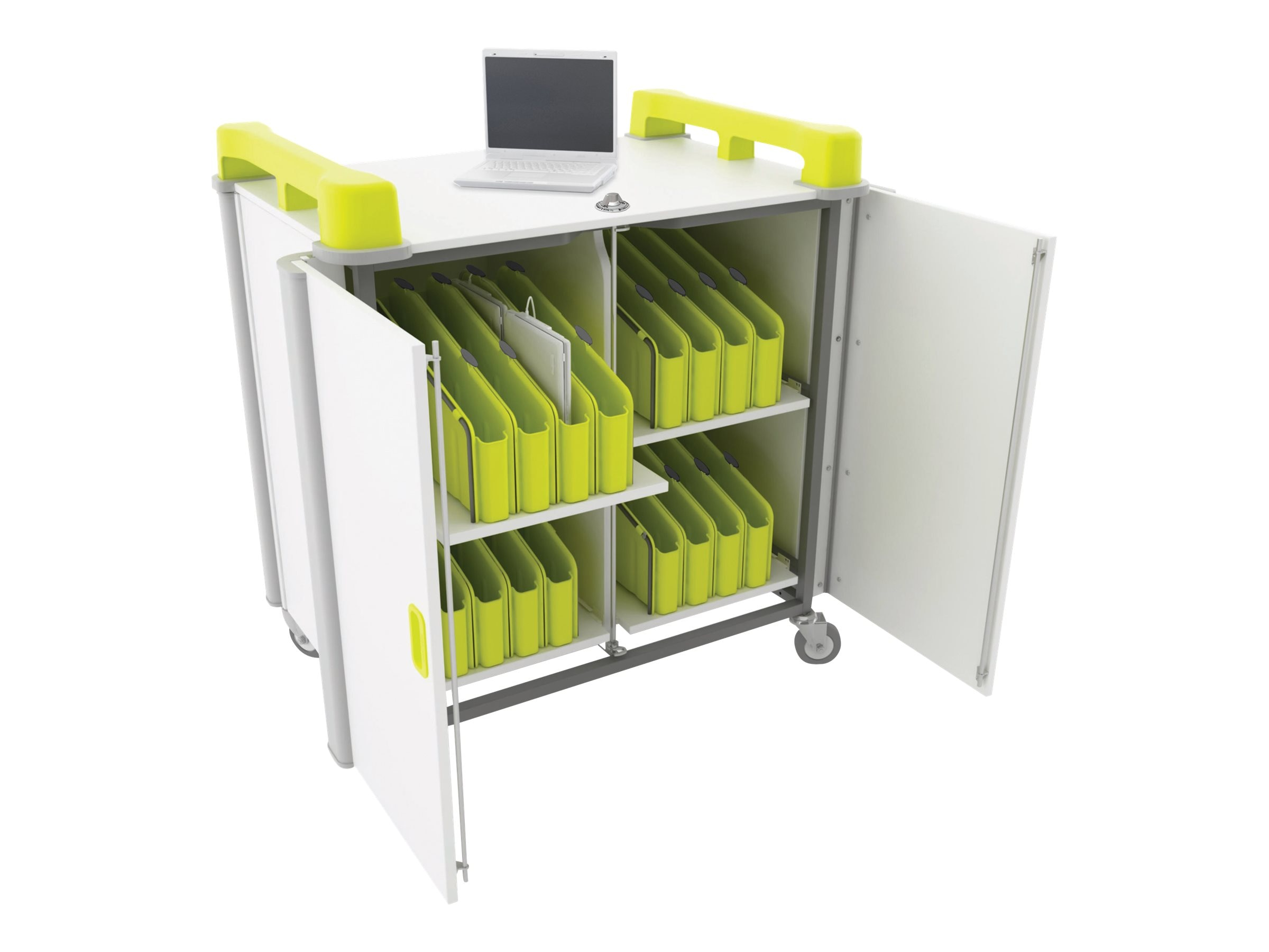 LapCabby 32-Port Mini Laptop Vertical Charging Trolley, Lime