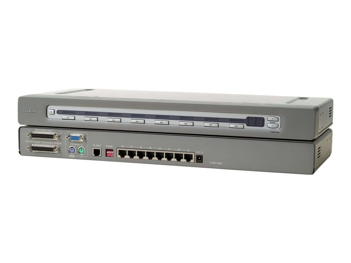 Belkin OmniView SMB Cat5 KVM Switch, 8-Port with (8) USB Server Interface Modules, F1DP108A-BU, 10104401, KVM Switches