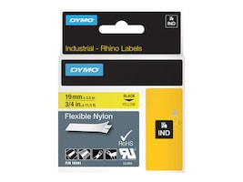 DYMO RhinoPRO Flexible Nylon Tape Yellow 3 4 x 11.5', 18491, 4814896, Paper, Labels & Other Print Media