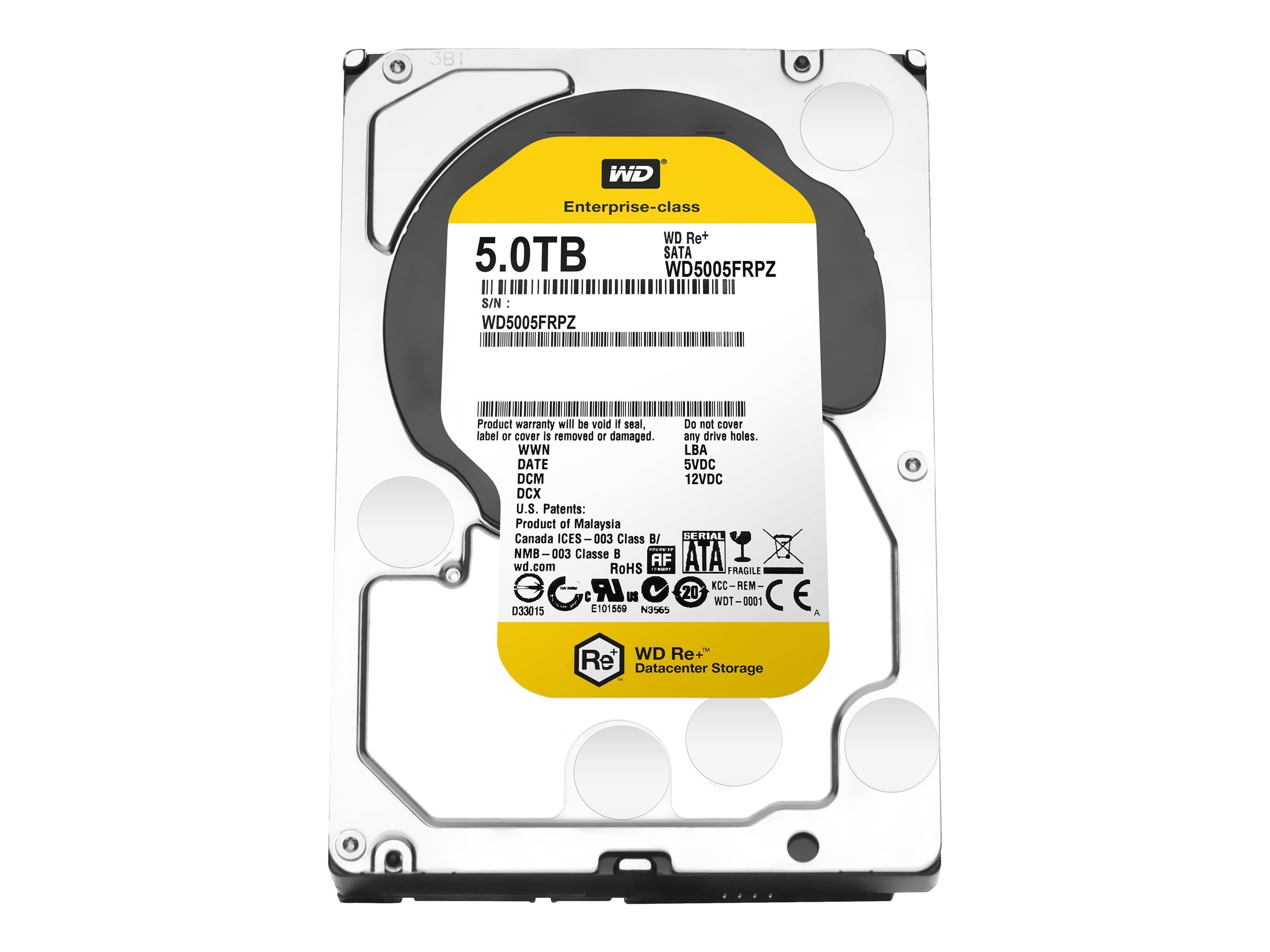 WD 5TB WD Re+ Datacenter Capacity SATA 6Gb s 3.5 Internal Hard Drive, WD5005FRPZ, 22706215, Hard Drives - Internal