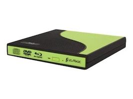 I O Magic 8x Slim External Blu-Ray Read DVD Write USB 2.0 Drive - Gren Black, D-IBC1PE2G, 33248707, Blu-Ray Drives - External