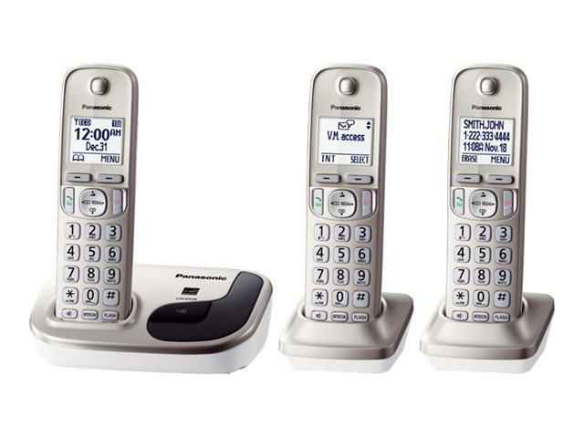 Panasonic KX-TGD213N Expandable Digital Cordless Phone w  (3) Handsets - Silver