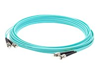 ACP-EP ST-ST OM4 Multimode LOMM Duplex Fiber Patch Cable, Aqua, 8m, ADD-ST-ST-8M5OM4
