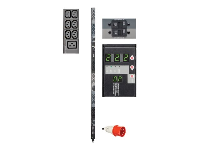 Tripp Lite Metered PDU 22.2kW 380 400V Input 32A 3-ph 0U, IEC309 Red (3P+N+E), (36) C13 (6) C19 Outlets, TAA, PDU3XMV6G32, 23000169, Power Distribution Units