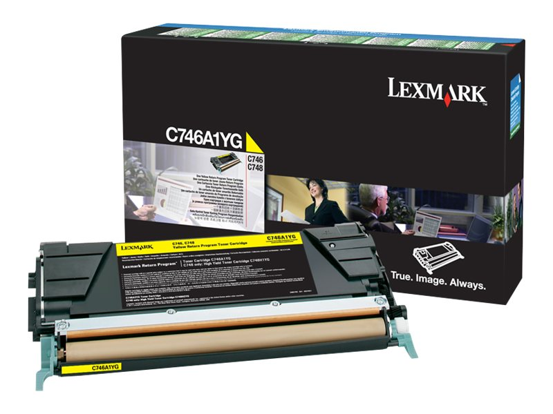 Lexmark Yellow Return Program Toner Cartridge for C746 & C748 Color Laser Printer Series, C746A1YG, 14012766, Toner and Imaging Components