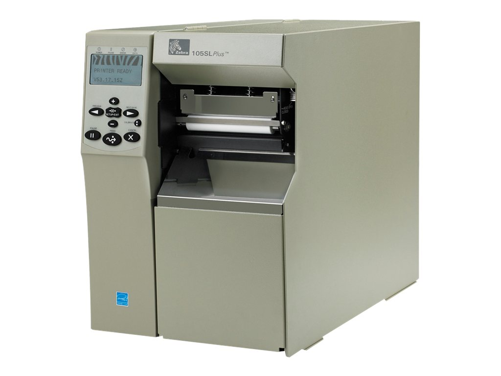 Zebra 105SLPlus TT 203dpi Serial Parallel USB Printer w  Cutter & Catch Tray, 102-801-00100