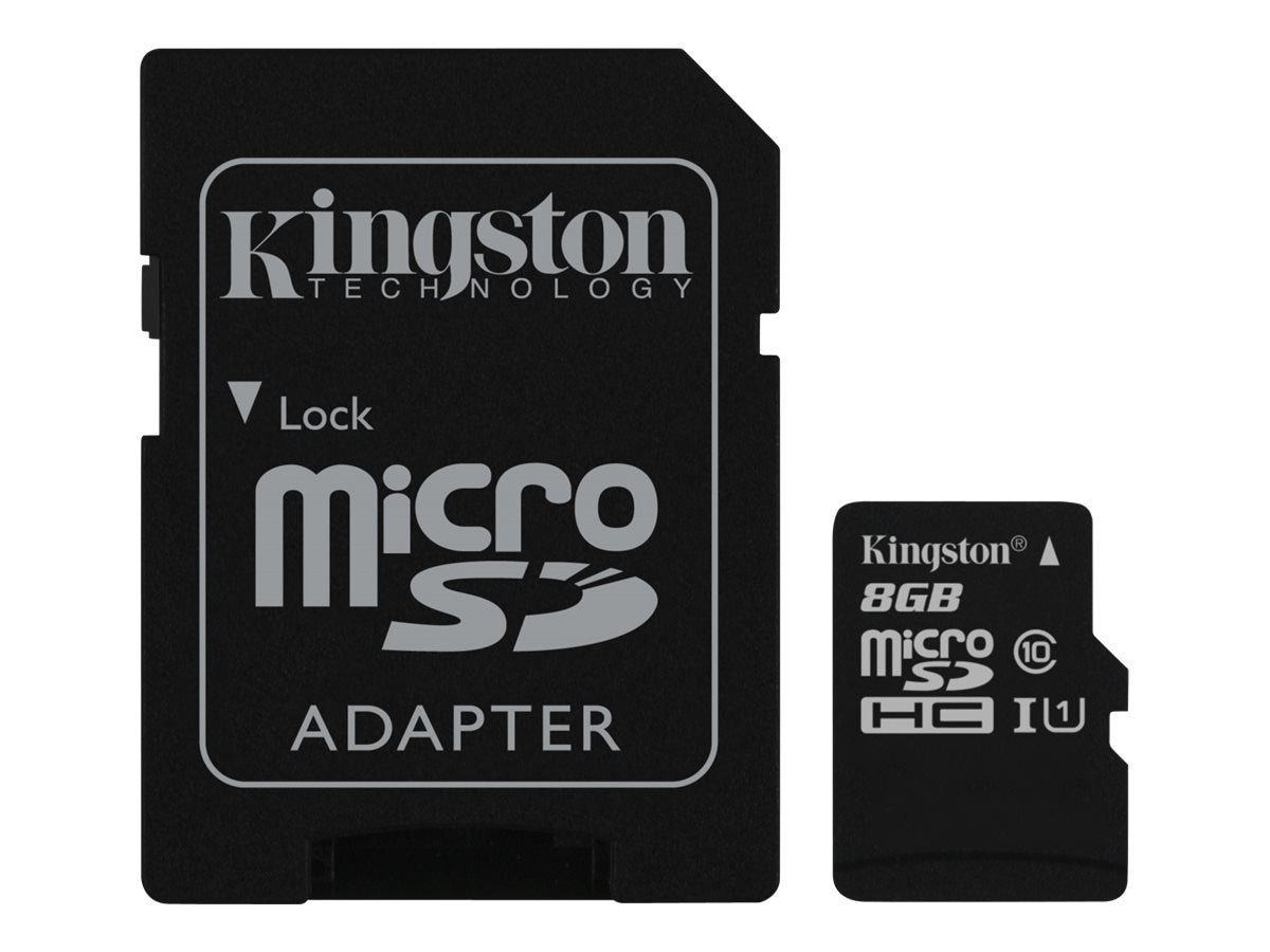 Kingston 8GB UHS-I microSDHC Flash Memory Card with SD Adapter, Class 10, Bulk Pack (100 Pieces Min)