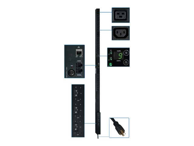 Tripp Lite PDU 3-Phase Monitored 208V 8.6kW L21-30P (30) C13 (6) C19 0U RM, PDU3VN10L2130, 12428274, Power Distribution Units