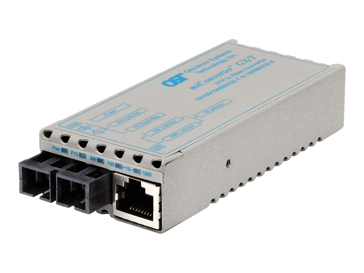 Omnitron miConverter GX T 10 100 1000BASE-T to 1000BASE-X Ethernet Media Converter Universal AC Ext Temp, 1223-1-2Z, 18393797, Network Transceivers