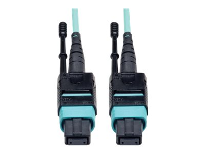 Tripp Lite 12-Fiber OM3 Patch Cable, MTP-MTP, 40GbE, 50 125, Multimode, Aqua, 1m