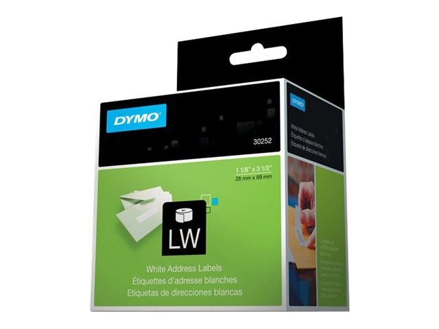 DYMO 1.125 x 3.5 White Address Labels (2 Rolls 350 Labels-Per-Roll), 30252, 3912, Paper, Labels & Other Print Media