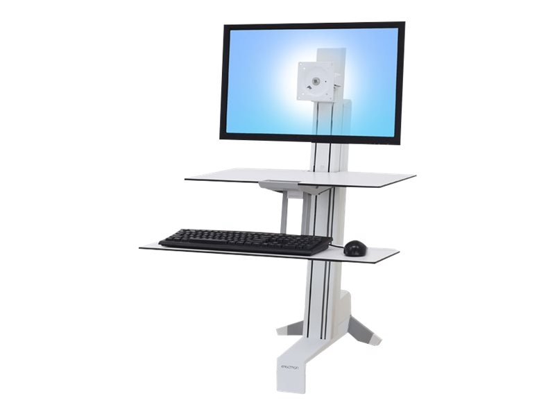 Ergotron WorkFit-S Single HD with Worksurface+, White, 33-351-211, 27125129, Stands & Mounts - AV