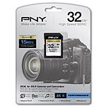 PNY 32GB Performance Series SDHC Flash Memory Card, Class 6