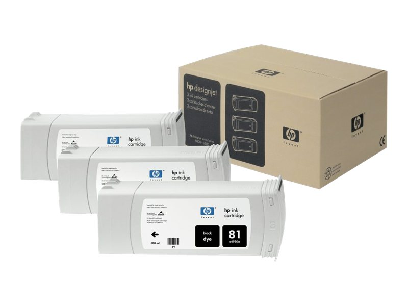HP 81 Dye Black Ink Cartridge (3-pack), C5066A, 469222, Ink Cartridges & Ink Refill Kits