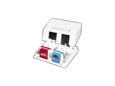 C2G Keystone Jack 2-Port Surface-Mount Box, White, 03833, 7890069, Premise Wiring Equipment