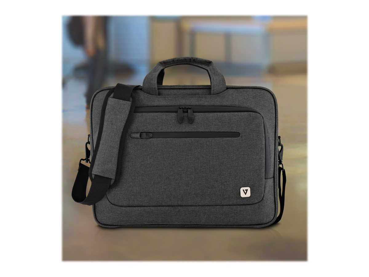 V7 Slim Briefcase for UltraBook 14.1 13.3, Trolley Strap, CTPX6-1NC