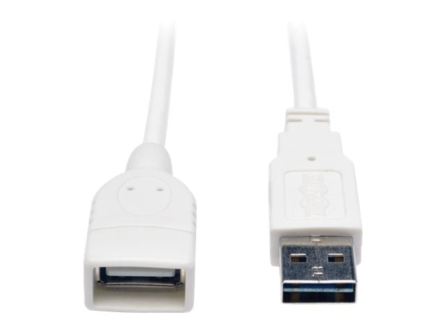 Tripp Lite Reversible USB Type A to A M F Cable, White, 10ft, UR024-010-WH, 17455255, Cables