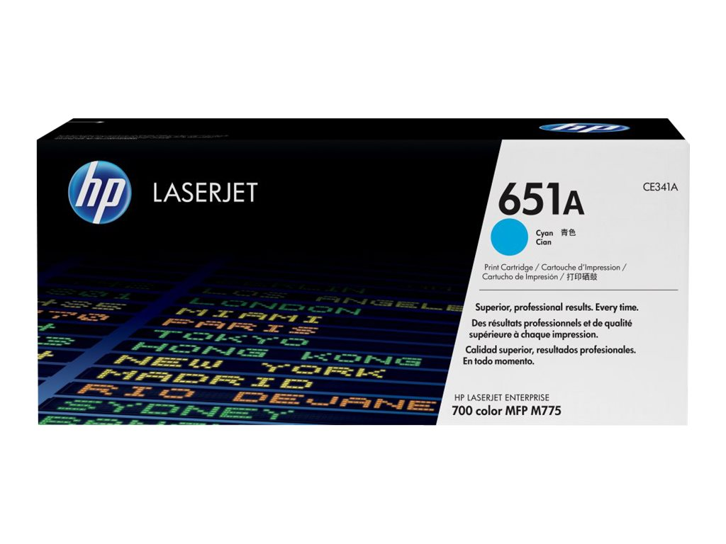 HP 651A (CE341A) Cyan Original LaserJet Toner Cartridge, CE341A, 14974949, Toner and Imaging Components