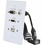 C2G HDMI, VGA, 3.5mm Audio, USB Pass-through Single Gang Wall Plate, White