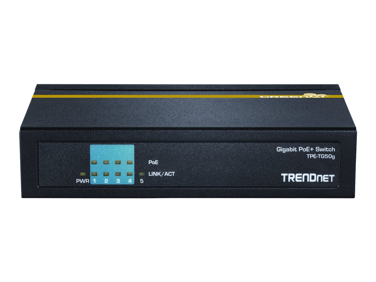 TRENDnet 5-Port Gigabit PoE+ Switch, TPE-TG50G, 17539205, Network Switches