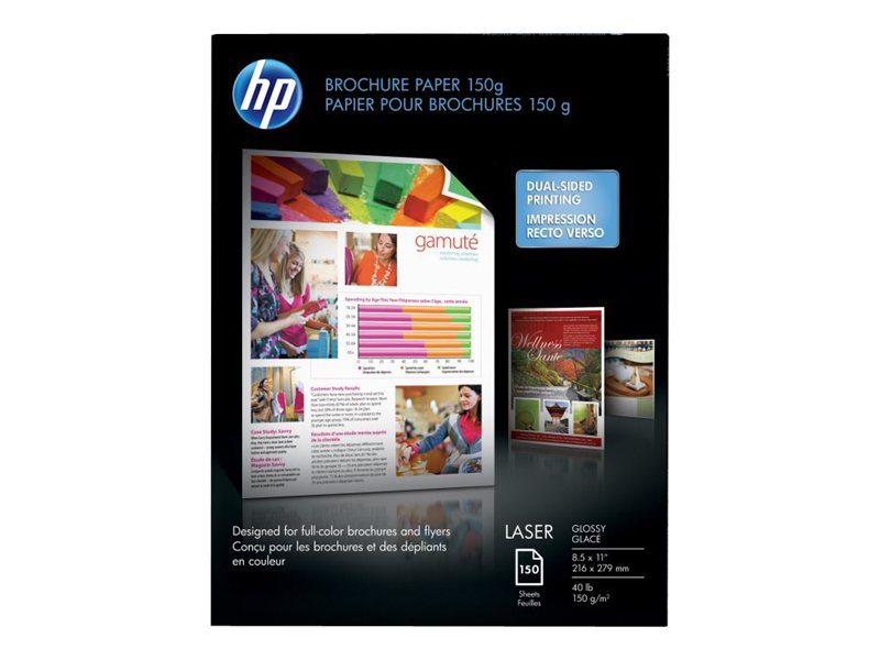 HP 8.5 x 11 Color Laser Brochure Paper (100-Sheets), Q6611A, 6088971, Paper, Labels & Other Print Media