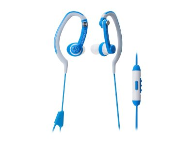 Audio-Technica Sprt In-Ear Headphone w  Smartphone Control, Hook Style - Blue, ATH-CKP200ISBL, 16852216, Headphones