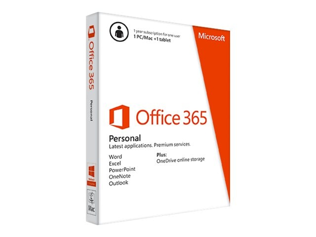 Microsoft Office 365 Personal 32-bit 64-bit English Subscription 1 Year NA Medialess AR Only, QQ2-00092, 17673990, Software - Office Suites