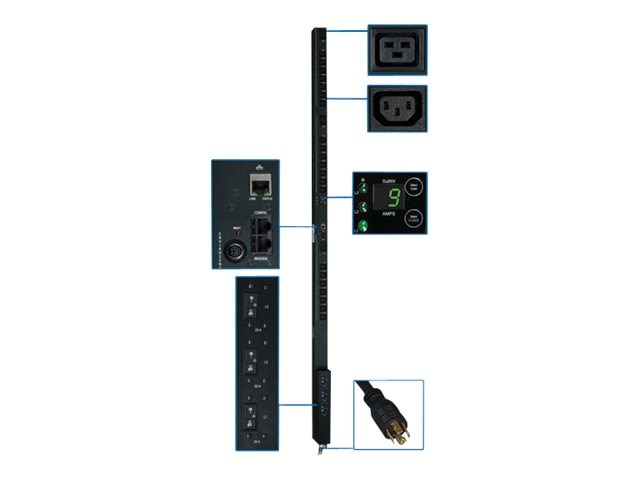 Tripp Lite PDU 3-Phase Switched 208V 8.6kW L21-30P (21) C13 (3) C19 0U RM, PDU3VSR3L2130, 12428418, Power Distribution Units