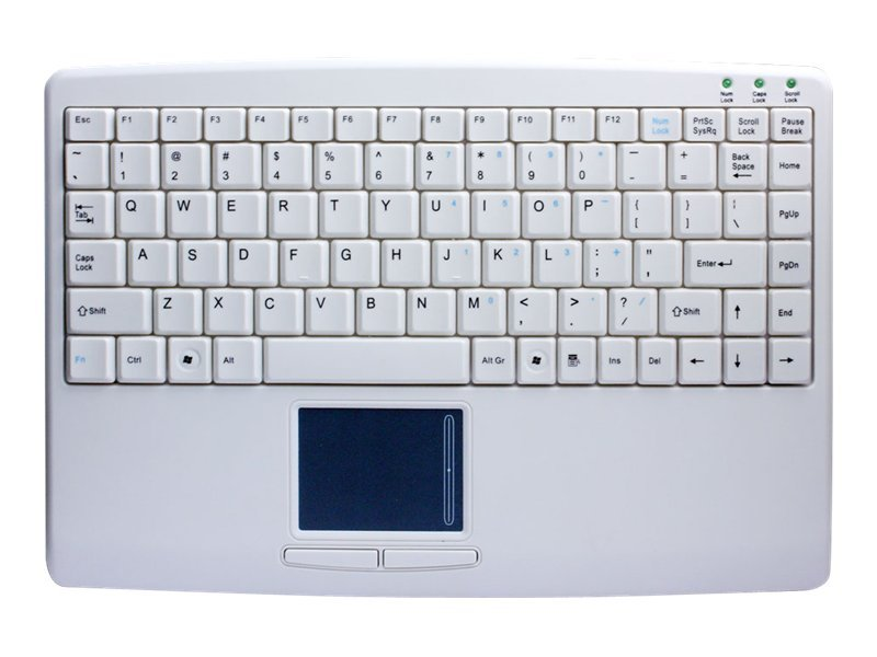 Adesso USB Mini Keyboard, Touchpad, White