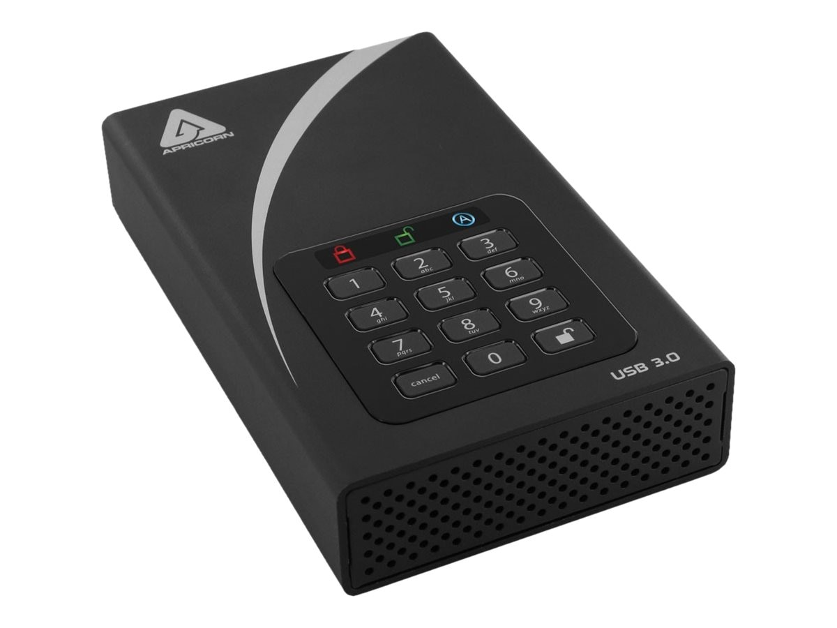 Apricorn 8TB Aegis Padlock DT Secure USB 3.0 256-Bit AES Hardware Encrypted External Hard Drive, ADT-3PL256-8000, 31244770, Hard Drives - External