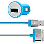 Belkin Car Charger, 30-Pin Charge Sync Cable, 10W 2.1A, Blue