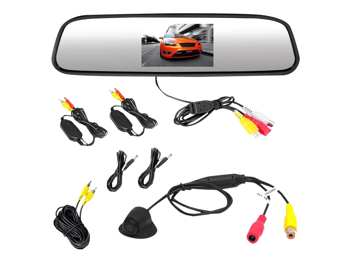 Pyle Wireless Rear View Mirror with 4.3 Monitor & Backup Camera, PLCM4370WIR