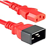 APC Heavy Duty Power Cord C20 to C13 250V 15A 14 3 SJT, Red, 6ft, AC6-RED, 17963196, Power Cords