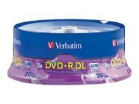 Verbatim 8x 8.5GB DVD+R DL Media (30-pack), 96542, 9166429, DVD Media