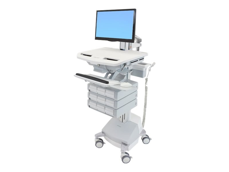 Ergotron StyleView Cart with LCD Pivot, SLA Powered, 9 Drawers, SV44-1391-1, 18024713, Computer Carts - Medical