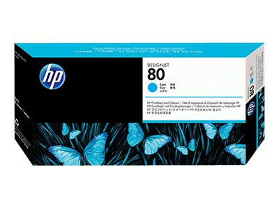 HP 80 Cyan Printhead & Cleaner, C4821A, 114177, Ink Cartridges & Ink Refill Kits