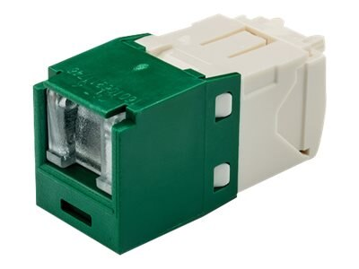 Panduit Cat6 RJ-45 8-position, 8-wire Spring Shuttered Universal Jack Module, Green, CJH688TGGR